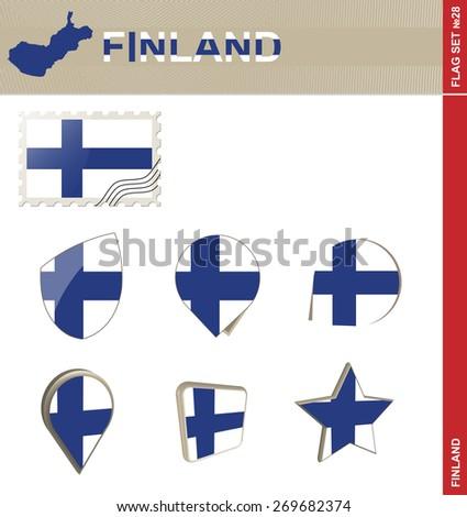 Finland Flag Set, Flag Set #28. Vector. - stock vector