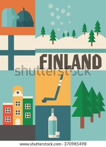 finland icon set - stock vector