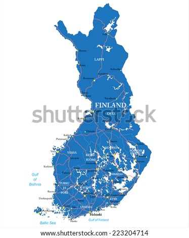Finland map - stock vector