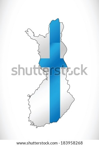 Finland map and flag idea design - stock vector