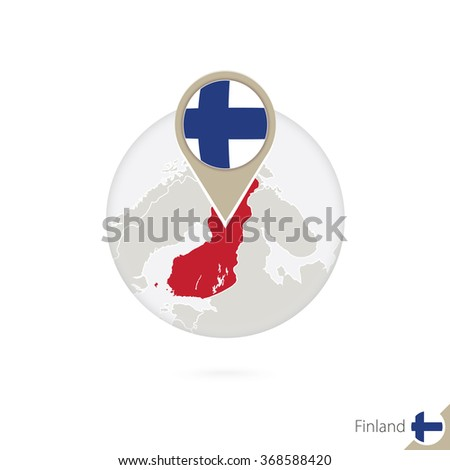 Finland map and flag in circle. Map of Finland, Finland flag pin. Map of Finland in the style of the globe. Vector Illustration. - stock vector