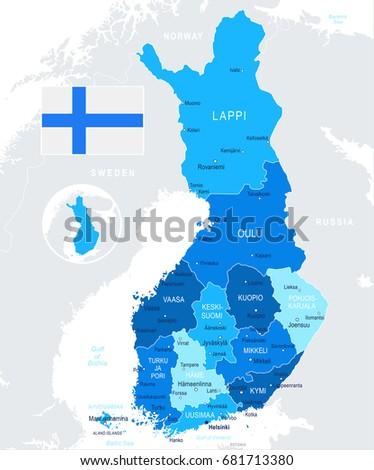 Finland Map Flag Vector Illustration Stock Vector 681713380
