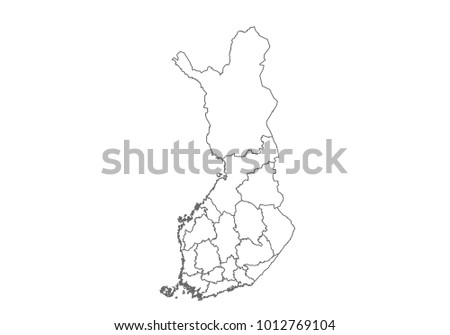 finland map with country borders, thin black outline on white background. High detailed vector map with counties/regions/states - finland. contour, shape, outline, on white.