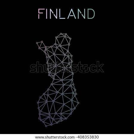 Finland network map. Abstract polygonal map design. Network connections vector illustration. - stock vector