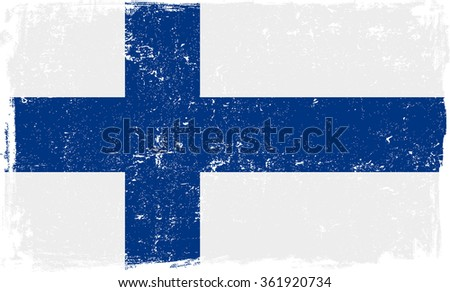 Finland vector grunge flag isolated on white background. - stock vector