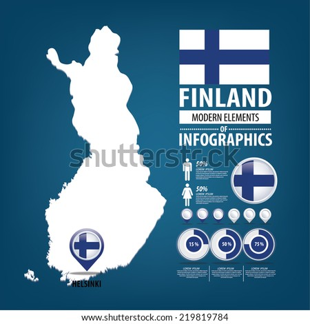 Finland vector set. flags and icons isolated on white background. - stock vector