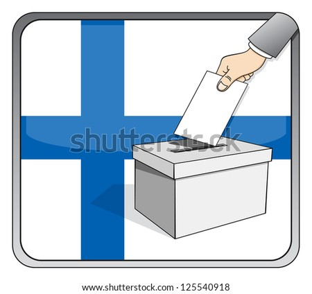 Finnish elections - ballot box and national flag