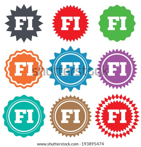 Finnish language sign icon. FI Finland translation symbol. Stars stickers. Certificate emblem labels. Vector