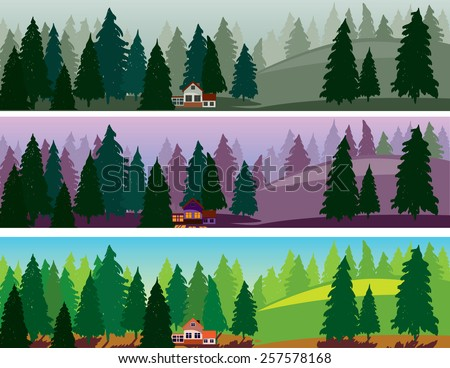 Fir forest and a small house three banners, fog, dawn, day