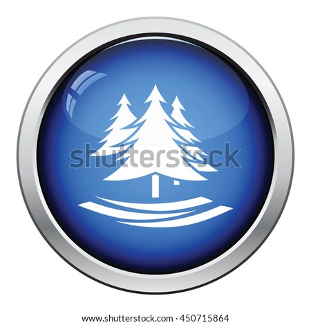 Fir forest  icon. Glossy button design. Vector illustration. - stock vector