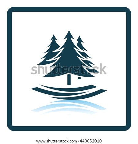 Fir forest  icon. Shadow reflection design. Vector illustration. - stock vector