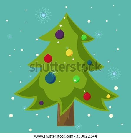 fir tree, christmas, balls - stock vector