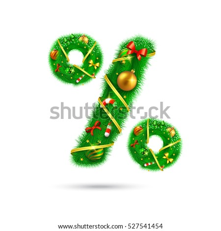 Fir tree font percentage symbol. Christmas and New Year holiday design elements.
