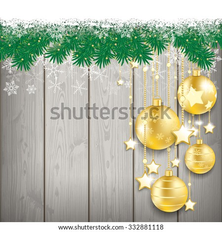 Fir twigs with snow and golden baubles on the wooden background. Eps 10 vector file. - stock vector