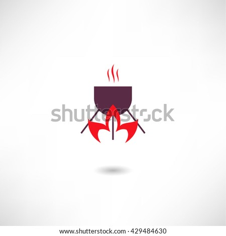 Fire and cooking pot icon - stock vector