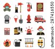 Fire and firefighter equipment icon flat set isolated vector illustration - stock vector