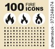 Fire and flame icons. Bonfire pictogram. Burn vector graphic. Ignite design collection. - stock photo