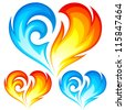 Fire and Ice vector heart. Symbol of love for Valentine Day - stock photo