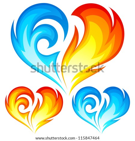 Fire and Ice vector heart. Symbol of love for Valentine Day - stock vector