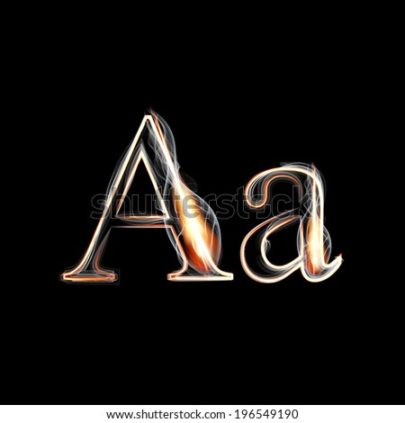 Fire and Smoke font. Letter A. Vector illustration. - stock vector
