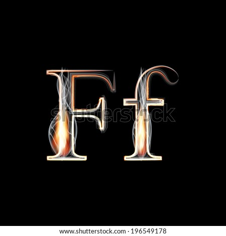 Fire and Smoke font. Letter F. Vector illustration. - stock vector