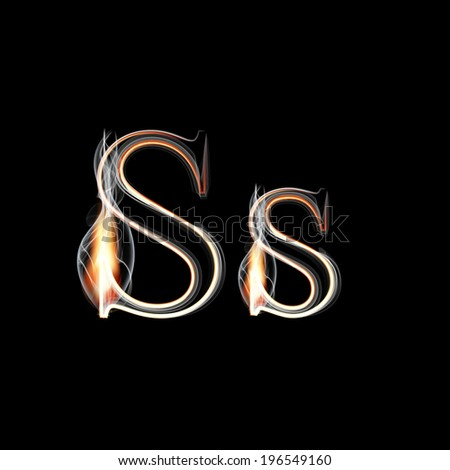 Fire and Smoke font. Letter S. Vector illustration. - stock vector