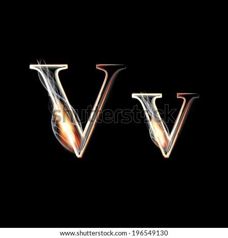 Fire and Smoke font. Letter V. Vector illustration. - stock vector