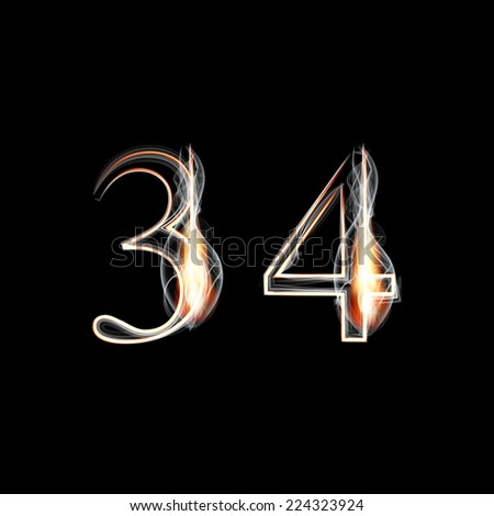 Fire and Smoke font. Numbers 3 4. Vector illustration. - stock vector