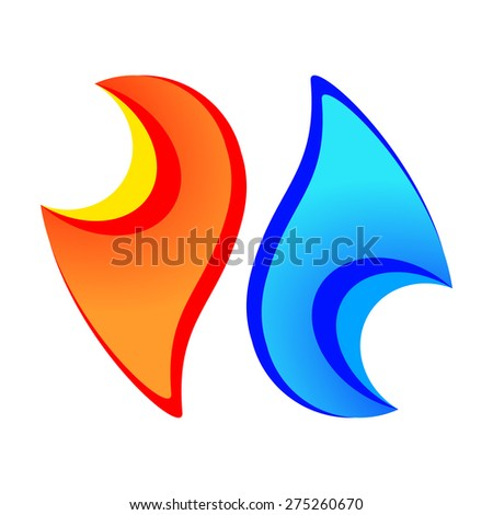 Fire Water Element Symbols On White Stock Vector Royalty Free