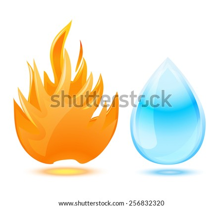 fire and water symbol on white - stock vector