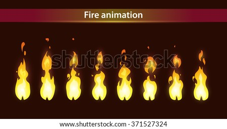 Fire animation sprites, vector flame video frames for game design - stock vector