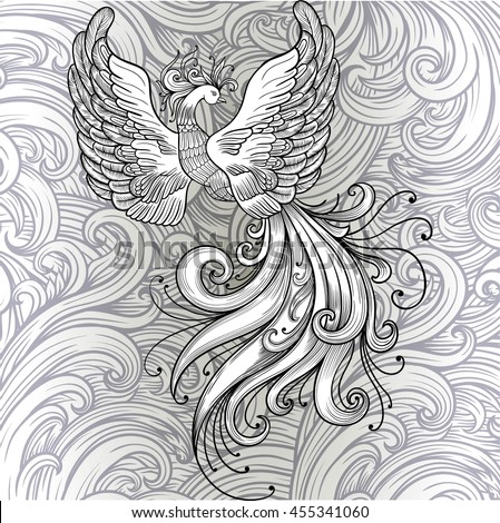 Fire Bird Vector Clipart Black Contour On A White Background Boho Chic Coloring