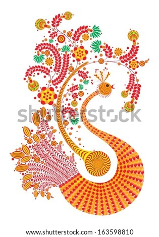 Fire bird with decorative wings and tail patterns isolated on white - stock vector