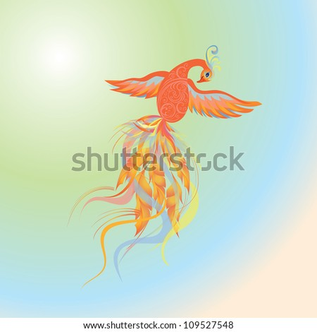Fire-birds flying in multicolored sky - stock vector