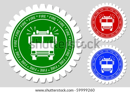 Fire Brigade Bus Sign Labels - stock vector