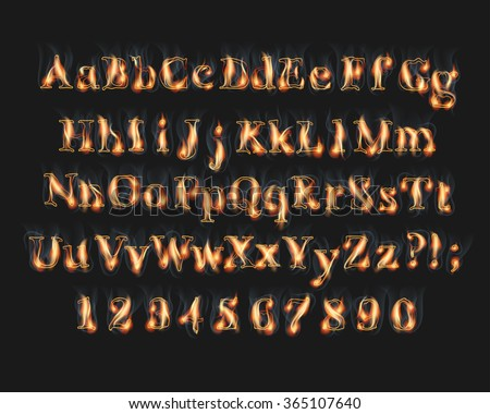 Fire burning alphabet and numbers font set with smoke on black background - stock vector