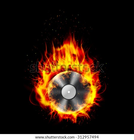Fire burning CD black background. vector