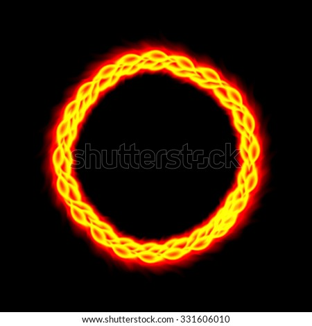 Fire burning circle. Vector illustration.