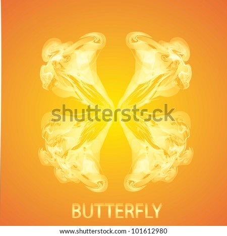 fire butterfly on orange background - stock vector