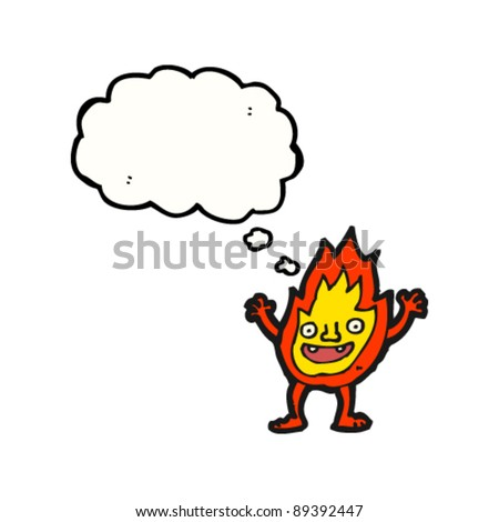 fire cartoon character with thought bubble