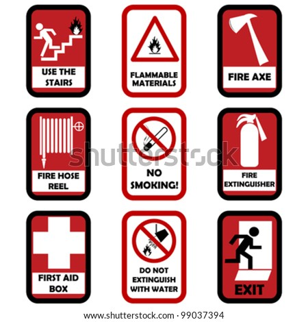 Fire caution signs - stock vector