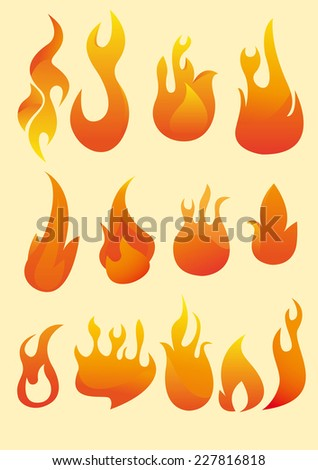 Fire collection, with thirteen fire set vector illustration. - stock vector