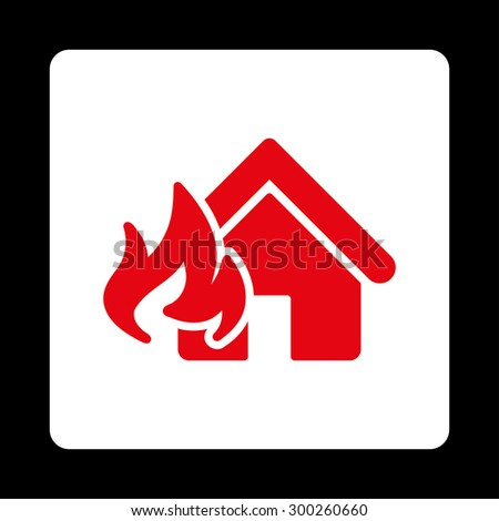 Fire Damage icon. This flat rounded square button uses red and white colors and isolated on a black background. - stock vector