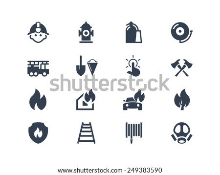 Fire department icons - stock vector