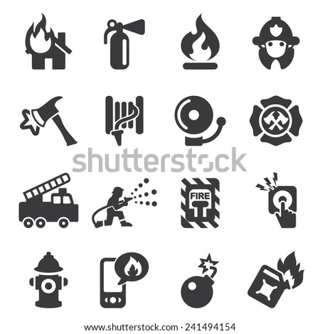 Fire Department Silhouette Icons - stock vector