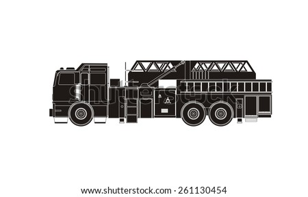 fire department truck silhouette - stock vector
