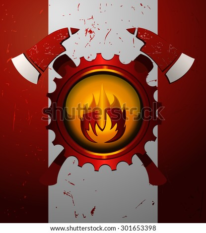 Fire Dept Sign on a Grunge White and Red Background, Vector Illustration.  - stock vector