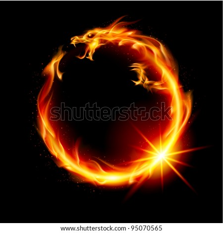 Fire Dragon. Abstract  Illustration on black background for design.