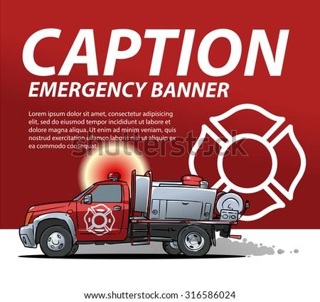 fire emergency banner template - stock vector