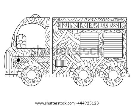 Fire Engine Coloring Book For Adults Vector Illustration Anti Stress Adult Car